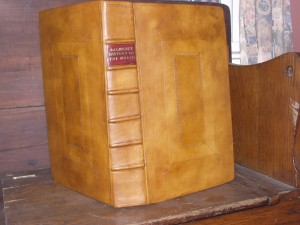 Full-leather binding with raised cords and leather label.